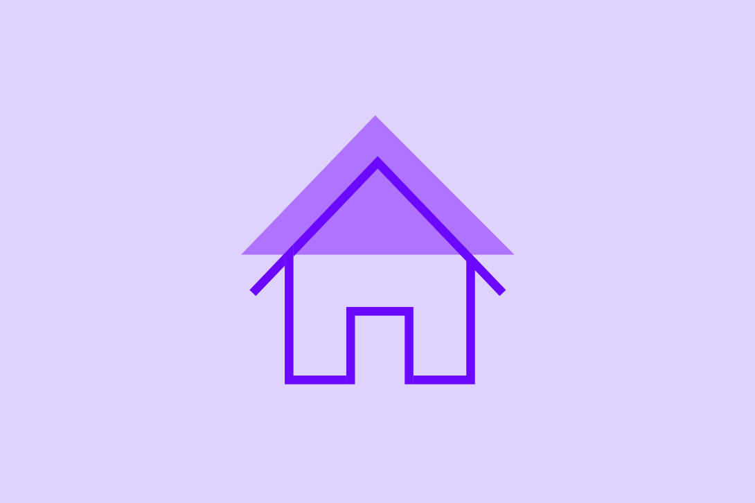Purple house graphic on a purple background