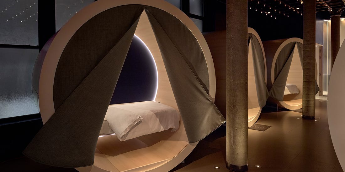 an image of the dreamery in store mattress testing pods by Casper