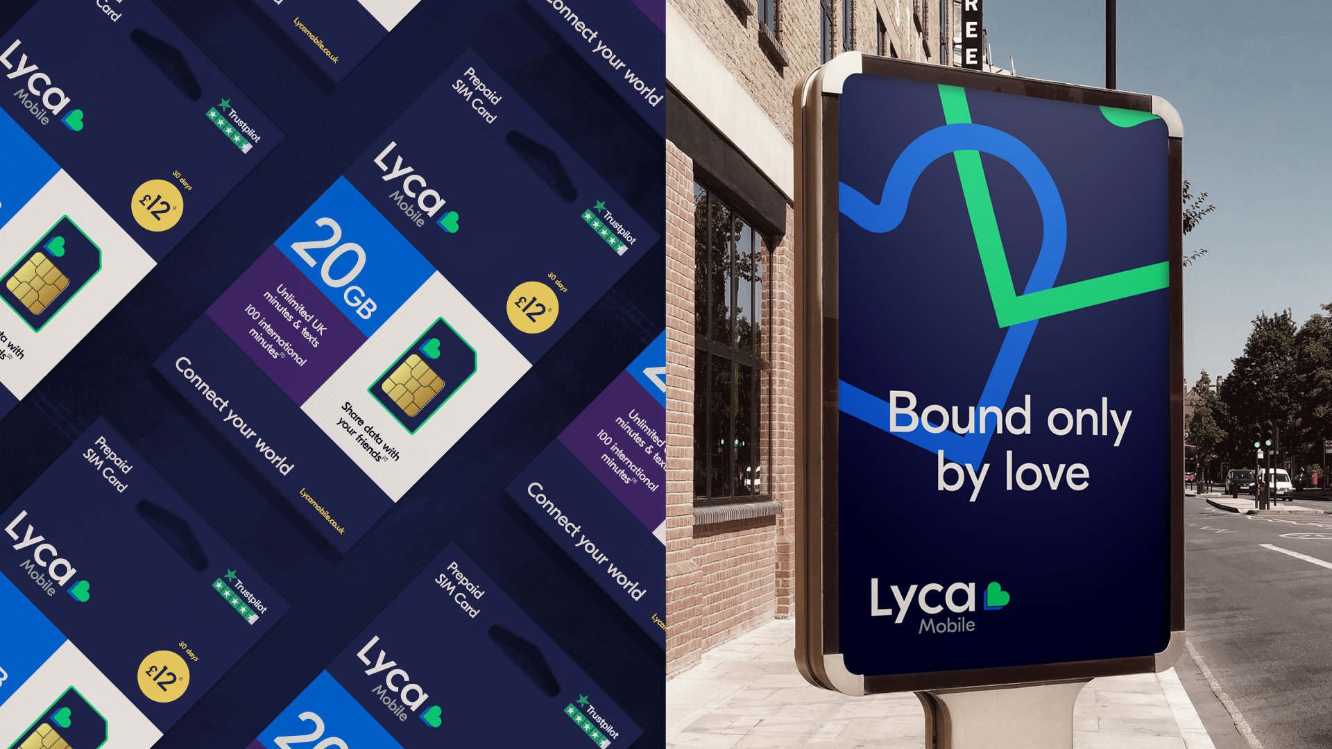 Lyca Mobile Sim packaging and digital billboard